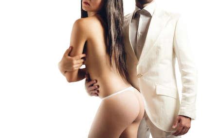 m�nner nackt: Anbetung eines sexy M�dchen von einem Mann