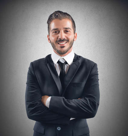 semblance: Businessman happy at work receives a promotion Stock Photo