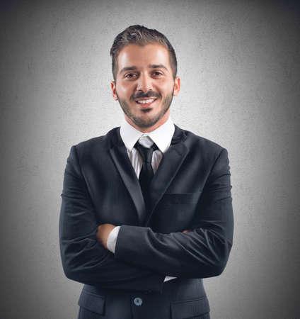 semblance: Uomo d'affari felice sul posto di lavoro riceve una promozione Archivio Fotografico