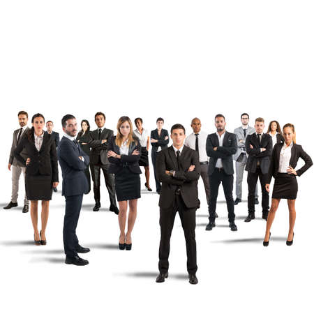 company employee: Concept of partnership and teamwork with businesspeople Stock Photo