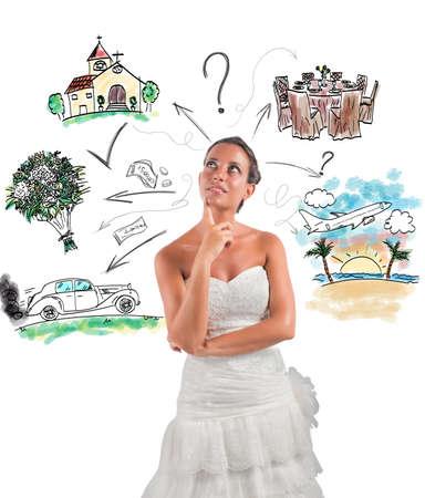 resor: Kvinnan tänker hur man organiserar sitt bröllop Stockfoto