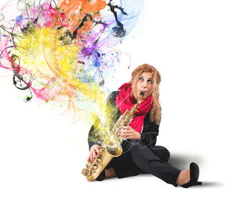 Girl saxophonist with colorful sound effect