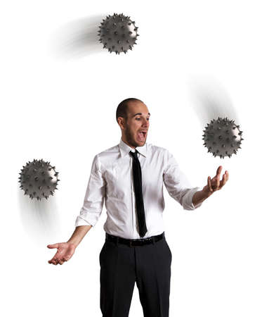juggler: Concept of difficult business with a juggler businessman