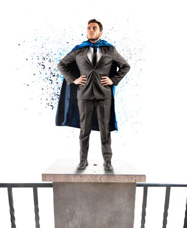 brave: A brave businessman hero above the skyscrapers Stock Photo