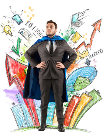 Businessman as hero of statistics and diagrams