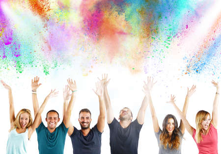 enchantment: Boys and girls  laugh together with colors Stock Photo