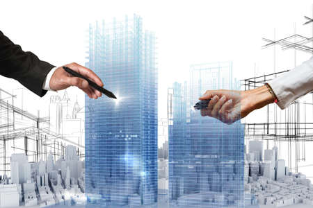 architectural: People business draws a project in 3D Stock Photo