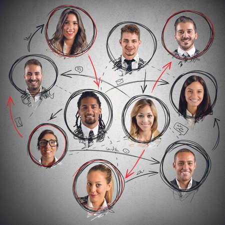 trabajo social: Conexión de red social entre hombres y mujeres Foto de archivo