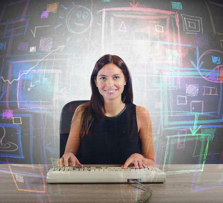 Communication strategy: A businesswoman works on her big screen Stock Photo