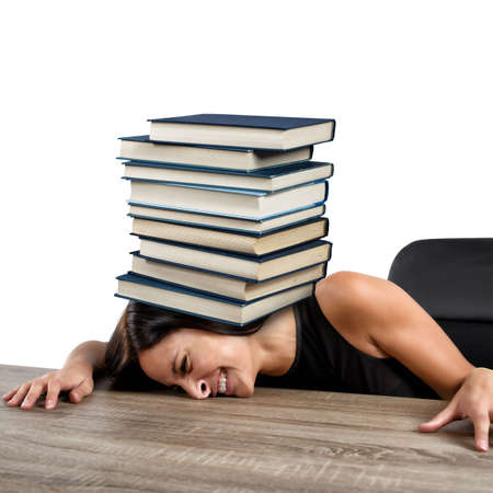 ponderous: Women crushed on the table by books