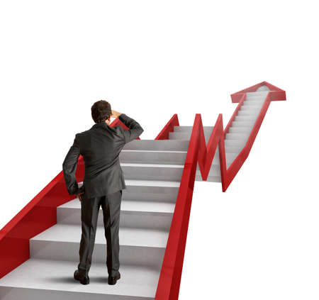 vision business: Climb the ladder of statistics to success Stock Photo
