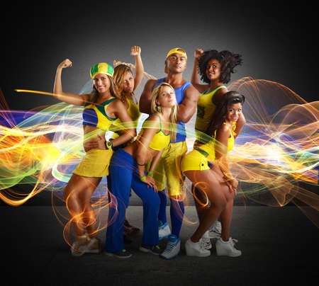 brazilian: Big team of fitness and gym trainer