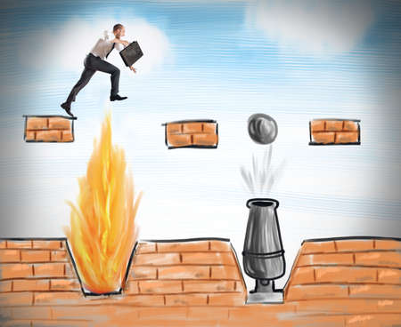 A businessman jumps to overcome difficult obstacles