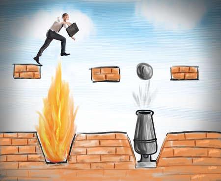 Een zakenman springt om moeilijke obstakels te overwinnen