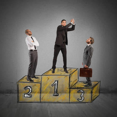 at came: Business people envy businessman came to success Stock Photo