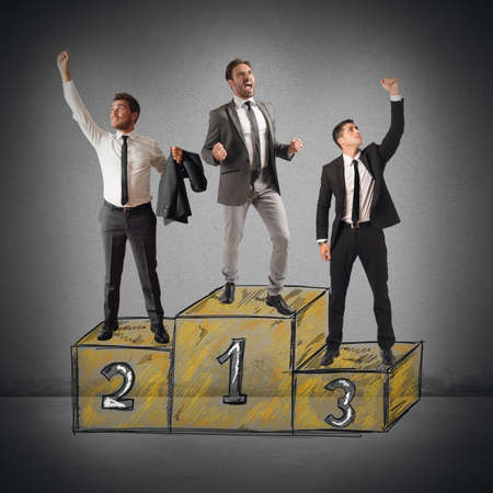 winner podium: Business people cheering for their big success
