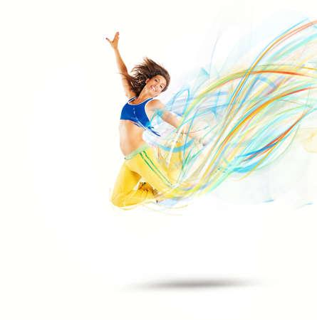 Dancer jumps leaving a strip of colors photo