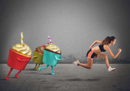 Woman runs away from sweets to diet