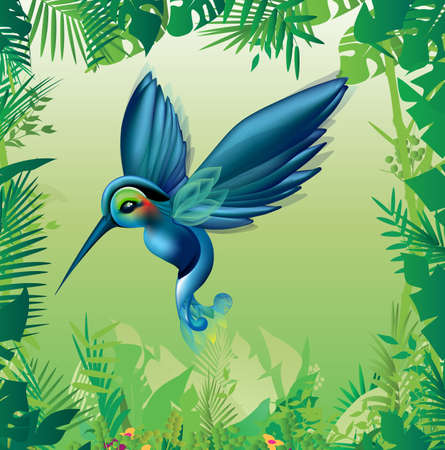 plumage: Tropical bird with blue and green plumage