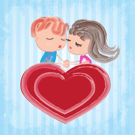 fervor: Kiss of a couple on a heart