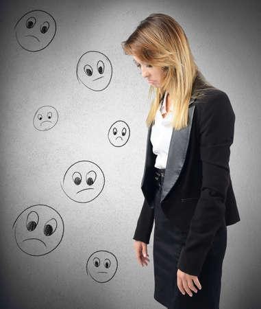 discouraged: Businesswoman depressed and discouraged by her work