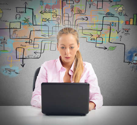 find a solution: Businesswoman working and try to find a solution