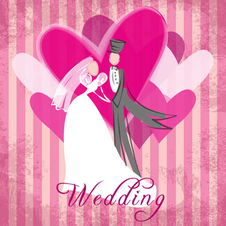 romatic: Best wishes for happy and romantic wedding Illustration