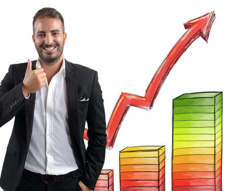 achieved: Businessman smiling achieved profits for its investments Stock Photo