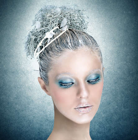 Makeup for the fairy tale of winter photo