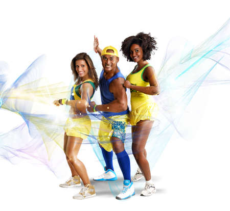 exertion: Shiny dancers have fun together learning choreography