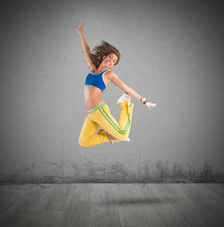 exertion: A dancer jumps in a choreography dance