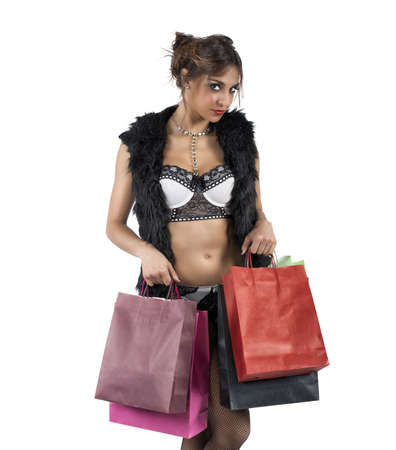 undress: A beautiful woman buy fashionable sexy clothes Stock Photo
