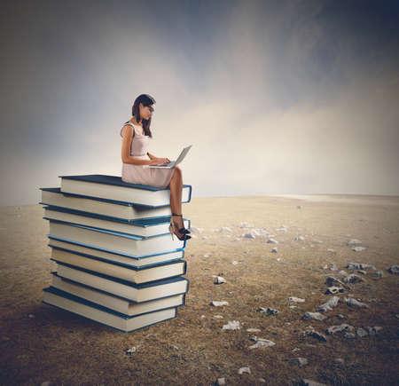 読むし、美しいパノラマとリラックス 写真素材