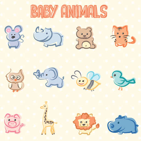 cartoons animals: Beautiful and sweet illustration of animals puppies