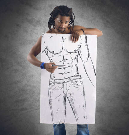 cartel: Muscular man draws his perfect beautiful physique Stock Photo