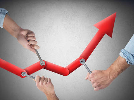 sales strategy: Business people working together to raise the statistics
