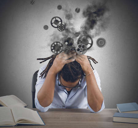 exams: Broken man and tired from much study Stock Photo