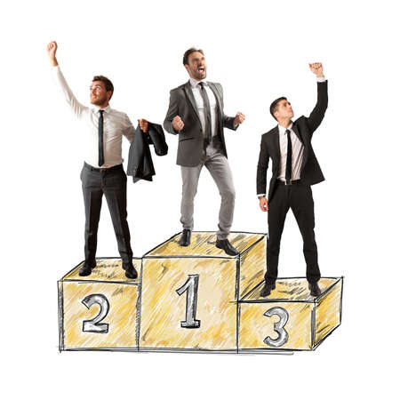 Business people cheering for their big success photo