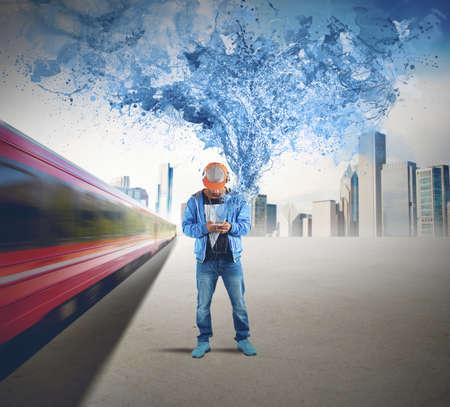 urban dance: Man listening hip hop music on street