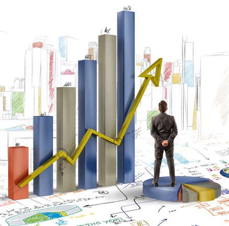 Businessman analyzes graphics and profits of company photo