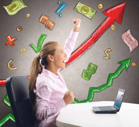 rejoices: A businesswoman comes to success and rejoices