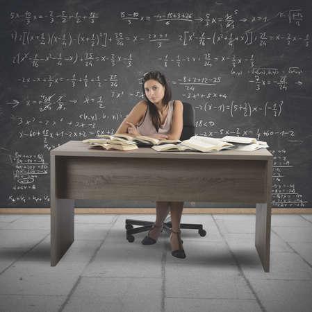 Vintage math teacher teaches in a school photo