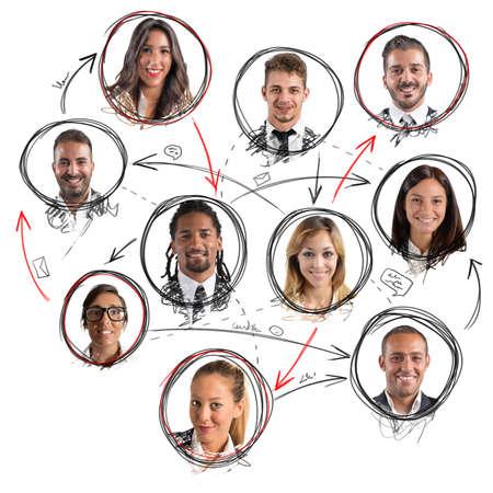 男性と女性間の社会的なネットワーク接続 写真素材