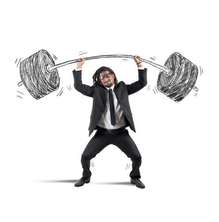 Businessman strives to keep a heavy balancer