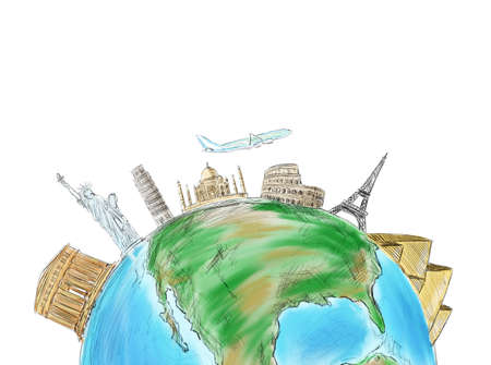 Drawing of beautiful world to see and discover photo