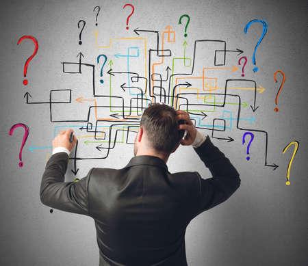 interrogativa: Hombre de negocios tratando de resolver una serie de preguntas laberinto