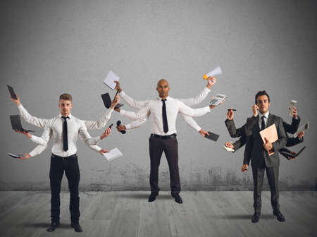 issues: Businessperson that to solve problems become multitasking