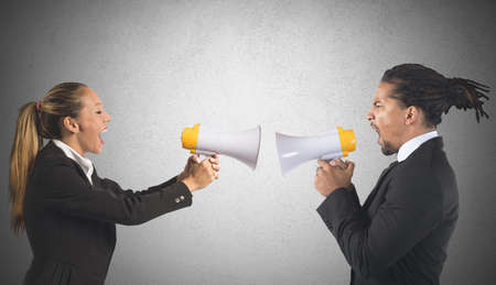 bad leadership: Businessman and businesswoman screaming fight for power