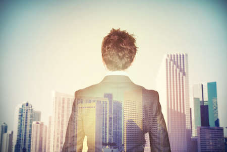 future vision: Empresario aspira al �xito en la econom�a Foto de archivo