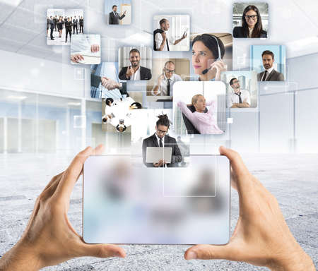 technologie: Manažer a jeho obchodního týmu na akci